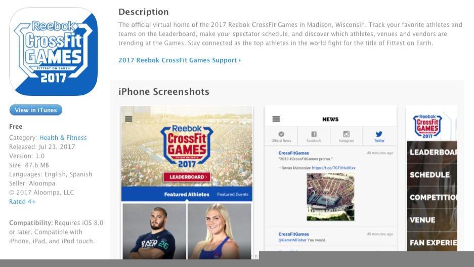 applicazione ufficiale dei CrossFit Games