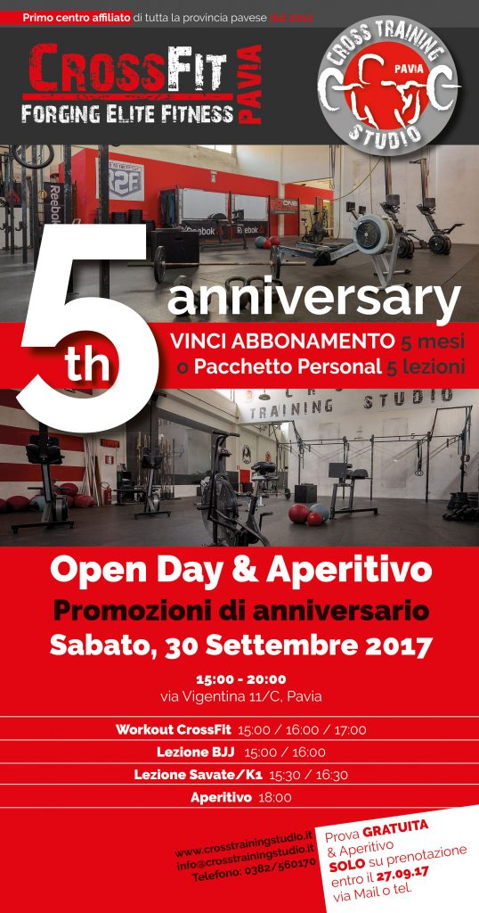 5° ANNIVERSARIO – OPEN DAY CROSSFIT / CROSS TRAINING STUDIO PAVIA